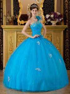 One Shoulder Appliques Handmade Flowers Tulle Teal Quinceanera Dress