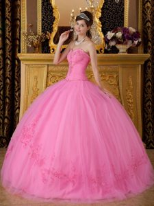 Tulle Sweetheart Appliques Puffy Rose Pink Lace Up Sweet 15 Dresses