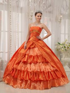 Ruched Orange Sweet 15/16 Birthday Dress with Ruffled Layers