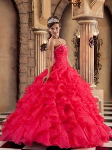 Sweetheart Ruffled Layers Rhinestones Red Quinceanera Dress