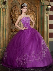 Floor-length Ball Gown Sweet 15 Dresses with Star Appliques