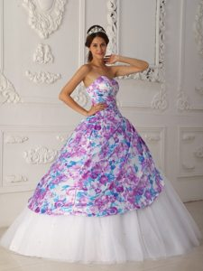 Printing Multi-color Sweetheart Sweet 15/16 Birthday Dresses