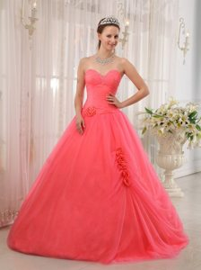 Sweetheart Floor-length Flowers Watermelon Quinceanera Gown