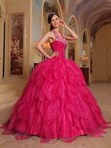 2013 New Arrival Halter top Embroidery Red Quinceanera Dresses