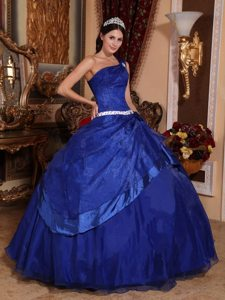 Royal Blue One Shoulder Beaded Quinceanera Gown Dresses