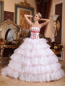 White Organza Ruffled Dress for Sweet 16 with Detachable Train