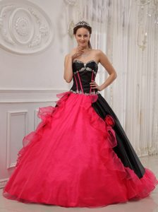 Red And Black Sweetheart Appliqued Ruffled Sweet 16 Dresses