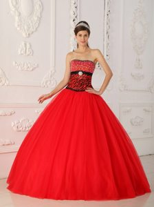New Style Zebra Print Tulle Red Quinceanera Dresses with Beading