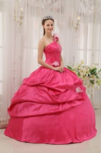 Hot Pink One Shoulder Beaded Quinceanera Dress with Flowers