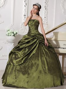 Olive Green Ruched Beaded Quinceanera Gown with Pick Ups