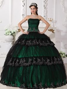 Customized Dark Green Appliqued Sweet 15 Dresses in Cornwall