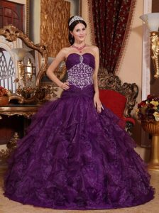 A-Line Purple Sweetheart Beaded Dresses for Sweet 16 for Sale