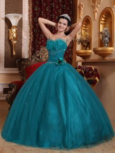 New Beaded Teal Quinceanera Dresses with Handmade Flower