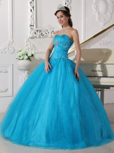 Cheap Strapless Floor-length Beaded Ruched Dress for Sweet 16