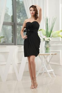 Mini Length Chiffon Prom Little Black Dress with Flower and Ruches