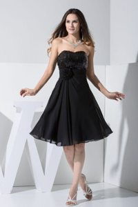 Sequins and Flower Accent Knee Length Prom Little Black Dresses