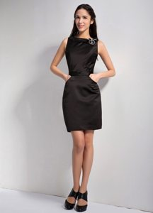 Simple Column Bateau Mini Length Prom Little Black Dress 2014