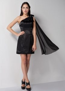 Flowery One Shoulder Prom Little Black Dresses of Mini Length