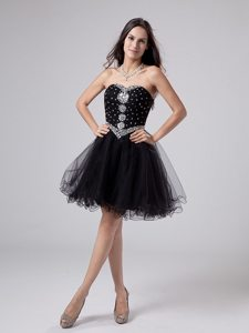 Beaded Bodice Prom Little Black Dresses with Puffy Mini Skirt