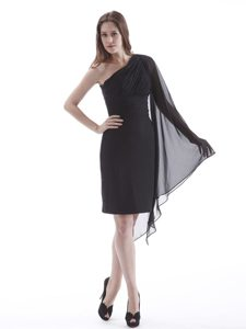 Ruched One Shoulder Prom Little Black Dress with Long Fan Sleeve