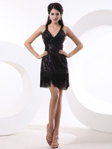 V-neck Mini Length Prom Little Black Dress with Sequins and Tassels