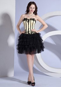 Appliqued and Ruffled Yellow and Black Prom Little Black Dress