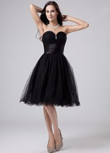 Beaded and Ruched Prom Little Black Dresses of Knee Length 2014
