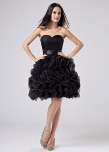 Sweetheart Organza Puffy Ruffles Sash Prom Little Black Dresses