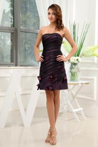 Low Price Taffeta Empire Strapless Dark Purple Prom Dresses
