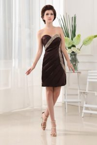 2014 Brown Mini-length Beaded Prom Cocktail Dress for Ladies