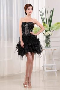 Wholesale Tulle Beaded Little Black Dress with Pick Ups Oregon