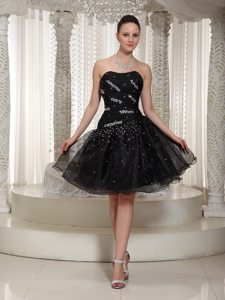 2014 Cheap Organza Beaded Little Black Dress in The Mainstream