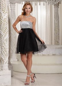 Strapless Mini-length Sequin Little Black and White Dress for Party