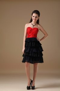 Custom Made Beaded Black Evening Dresses with Ruffled Layers
