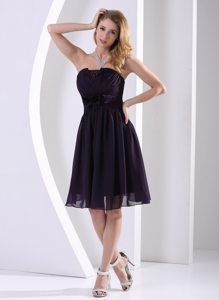 Ruched Knee-Length Strapless Black Evening Dresses in Maryland