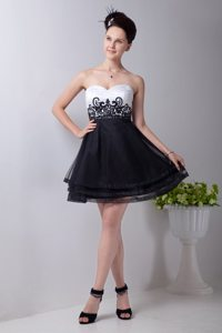 Organza Appliqued Beaded Little Black And White Dresses Juniors