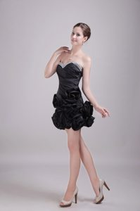 Short Black Evening Dress with Rhinestones and Flowers