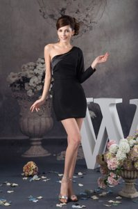 One Shoulder Satin Little Black Dresses with Single Long Sleeve