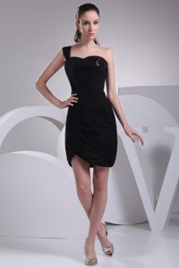 2013 New Ruched Paillette Little Black Dresses One Shoulder