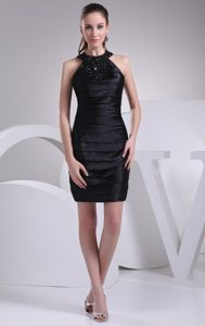 Column Halter Ruched Black Evening Dresses with Rhinestones