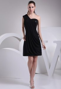 One Shoulder Ruched Mini-Length Little Black Dress with Paillette