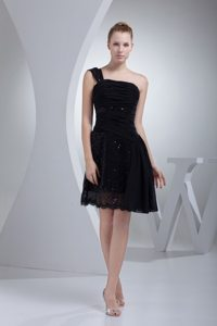 Chiffon One Shoulder Sequin Ruched Lil Black Dress Zipper-up