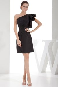 Trendy Satin Ruched One Shoulder Little Black Dress Under 150