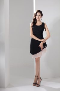 Scoop Neck Asymmetrical Hem Little Black Dress Side Zipper
