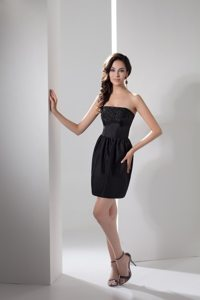 New Column Strapless Taffeta Beaded Little Black Cocktail Dress