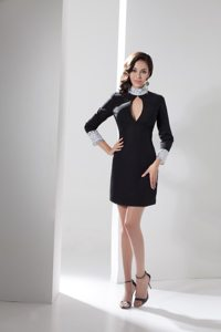 High-neck Long Sleeves Little Black Dress with Rhinestones