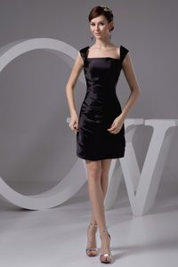 New Style Taffeta Square Neck Sleeveless Ruched LBD Dress