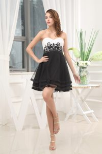 2013 Sweetheart Beaded Appliqued Little Black and White Dress