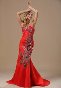 Mermaid One Shoulder Brush Train Embroidery Red Prom Dress