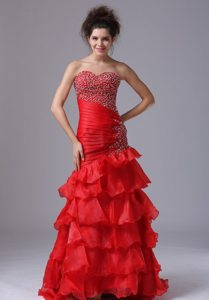 Sweetheart Ruffled Layers Beaded Red Prom Celebrity Dress Store